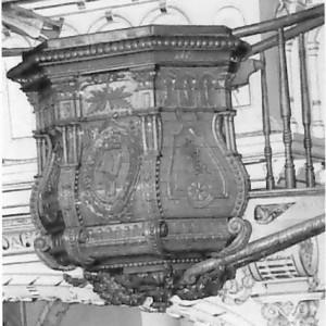 Henri Angers, Cuve de chaire, bois, 1903, Église Saint-Georges-de-Beauce. Photo: Société d'histoire de Neuville, Remi Morissette. Source : Répertoire des artistes canadiens : www.lareau-law.ca