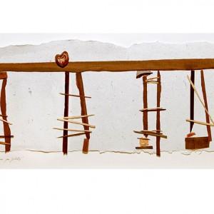 Sylvie Rochette, Coeurs sur pilotis, 2003. Ébène, palissandre, érable ondé, bronze, papier-matière.   50 x 35 x 6 cm. Photo: Ladislas Kadyszewski.