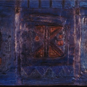 Odette Beaudry, Objet de culte,1993. Plâtre sur support de bois, peinture acrylique, patines. 127 x 51 cm. Photo : Suzanne Joly