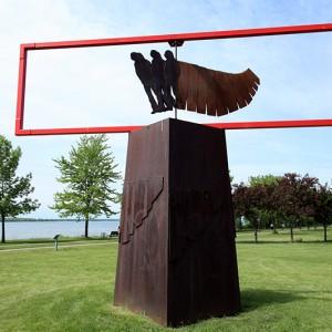 Gilles Boisvert, Vire-au-vent, 1988. Acier et acier peint. 480  X 160  X 600 cm. Parc René Lévesque, Lachine. Photo : Gilles Boisvert.