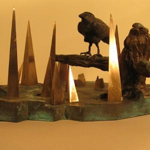 François-Xavier Cloutier, Soir d'hiver, 1990. Bronze patiné polychrome. 20 x 40 cm. Photo avec l'aimable autorisation de l'artiste.