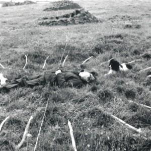 Jeane Fabb, ... gently holding…, 2002. Terre, branches, laine, vêtements noirs. Participation de 7 femmes. 60 x 3,5 x 1 m. Photo : avec l'aimable autorisation de l'artiste.