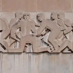 Armand Filion, Sans titre. Bas-relief. Aréna Maurice-Richard, Montréal. Photo : Alexandre Nunes.