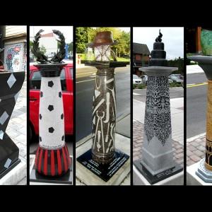 Cj Fleury, Postcards From Te Piazzas, 2010. Bronze, granite, aluminium. 15 éléments répartis sur 2 km, rue Preston, Ottawa. Photo avec l'aimable autorisation de l'artiste.