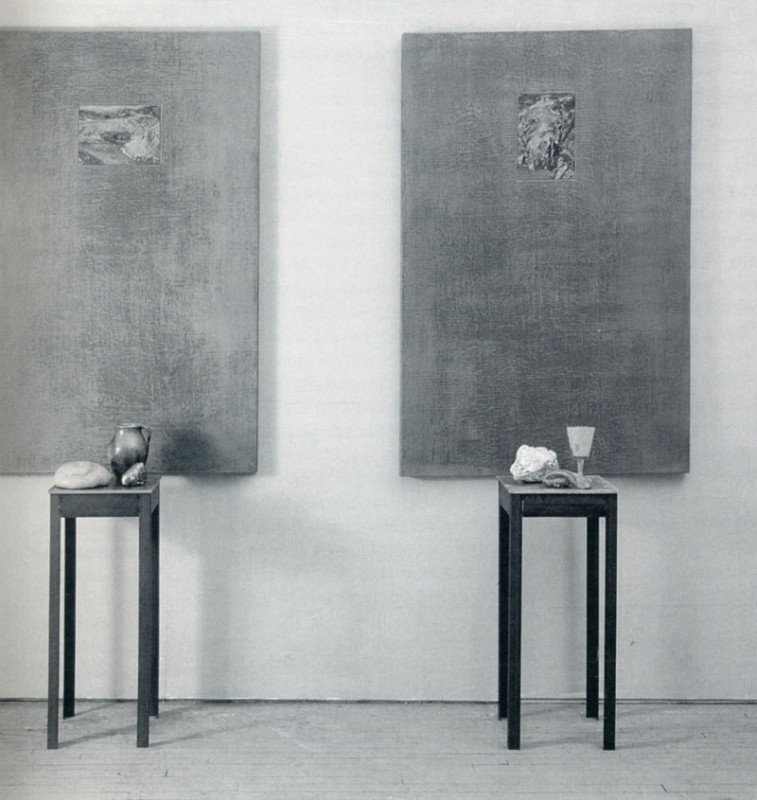 Peter Krausz, Traces  (six vues de  Tolède I et 2), 1991. Huile sur bois, plomb, acier et objets divers. 234 x 102 x 41 cm. Photo : avec l'aimable autorisation de l'artiste.