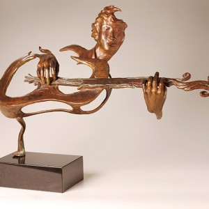 Jean-Marie Laberge, O guitare! O guitare!, 2003. Bronze  sur base de granite. 62 x 95 x 35 cm. Photo avec l'aimable autorisation de l'artiste.