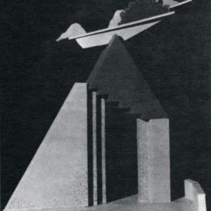 Gilles Larivière, Temple du troisième millénaire, 1990. Maquette de la sculpture qui sera érigée au parc Alexis-Nihon (Ville de Saint-Laurent). Béton et acier inoxydable. 475 x 380 x 75 cm.