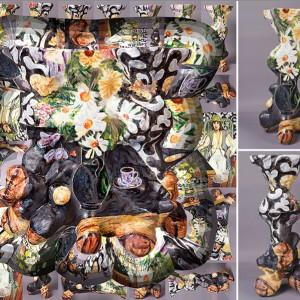 Paul Mathieu, Vase à Fleurs avec Vase de Fleurs (d'après Matisse/Jeanette), 2014. Céramique et photographie digitalisée. 100 x 100 cm.