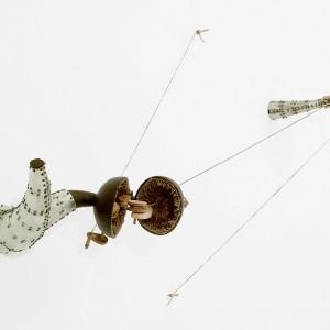 Dominique Morel, La branche est dans l'arbre No 2, 2002-2003. Bois, corde, aluminium, cuir, feutre, cire, visses. 85 x 145 x 35 cm. Photo: Guy, L'Heureux.