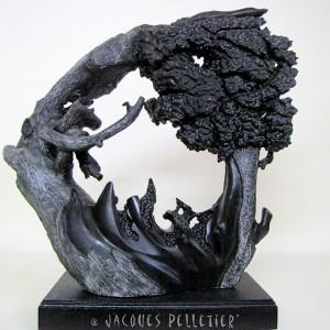 Jacques Pelletier, Les trois générations, 2005. Serpentine noire. 49 x 18 x 46 cm.  Photo avec l'aimable autorisation de l'artiste.