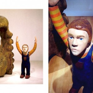 François Bourdeau, Personnage, sculpture A, 1999. Bois polychrome. 170 x 70 cm. Photo : Paul Litherland.
