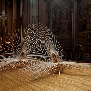 Yvon Proulx, Auréole, 2011. Chaises, goujons de bois. 275 x 410 x 640 cm. Photo : Michel Dubreuil.