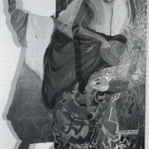 Monique Régimbald-Zeiber, Variations / Réflexions sur un thème 8/9, 1985. Bois, papier, encre, ciment fondu vitrifié. 28 x 32 cm. Photo : avec l'aimable autorisation du Musée du Québec.
