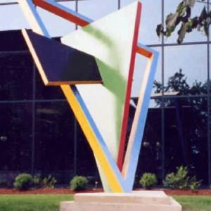 François Soucy, Polyèdre polychromé, Création: 1964, réalisation: 2002. Aluminium peint. 19' x 12' x 6'. Place Montcalm, Gatineau, Québec. Canada. Photo: Michel Soucy.