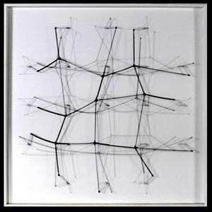 Roger Vilder,  Organisme Geometrique #3, 2006. Pièces mécaniques, moteur électrique, bois, métal, néon. 150 x 150 x 15 cm. Photo avec l'aimable autorisation de l'artiste.